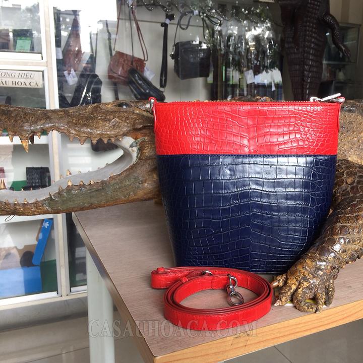 Túi xách da cá sấu phối màu 0230 - hình 2