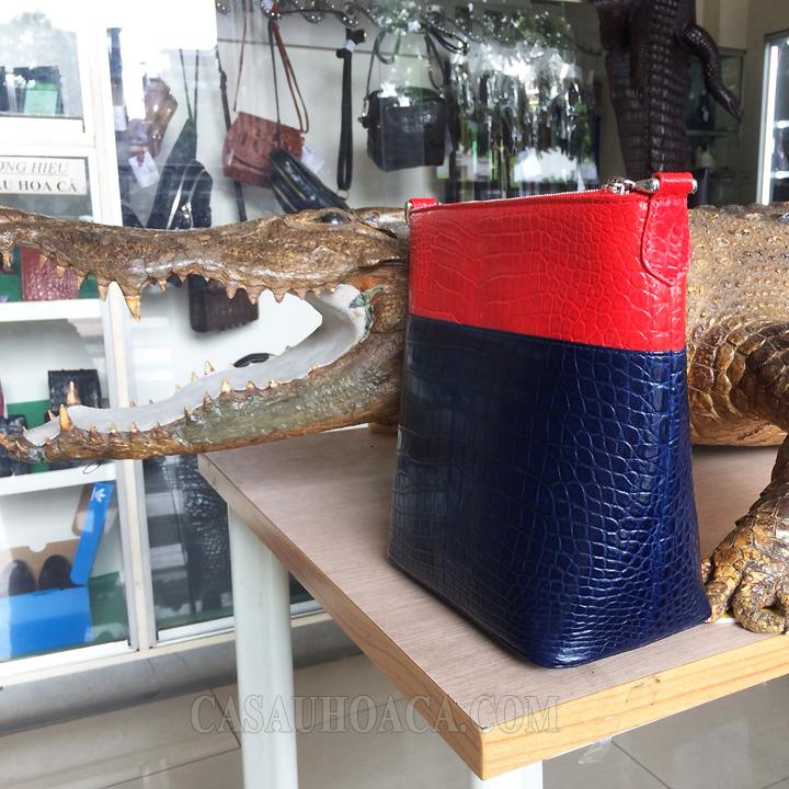 Túi xách da cá sấu phối màu 0230 - hình 3
