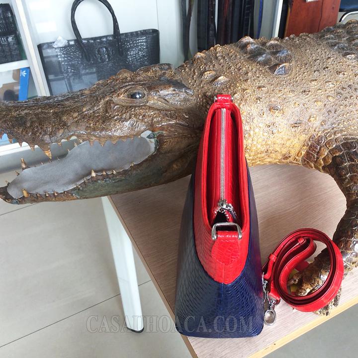 Túi xách da cá sấu phối màu 0230 - hình 4