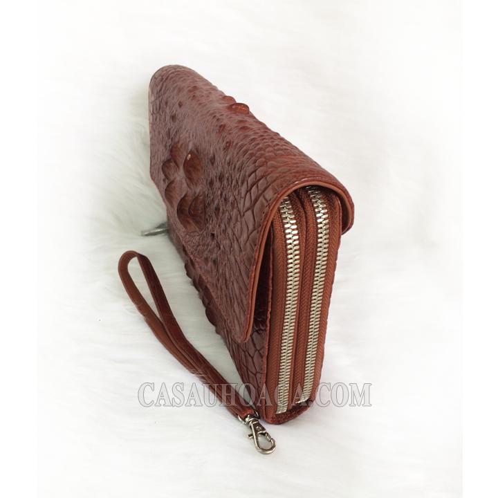 Mặt nghiêng ví cầm tay da cá sấu nữ 1186