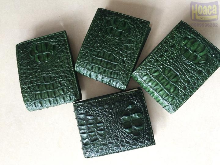Bóp da cá sấu nguyên con màu xanh lá 1141