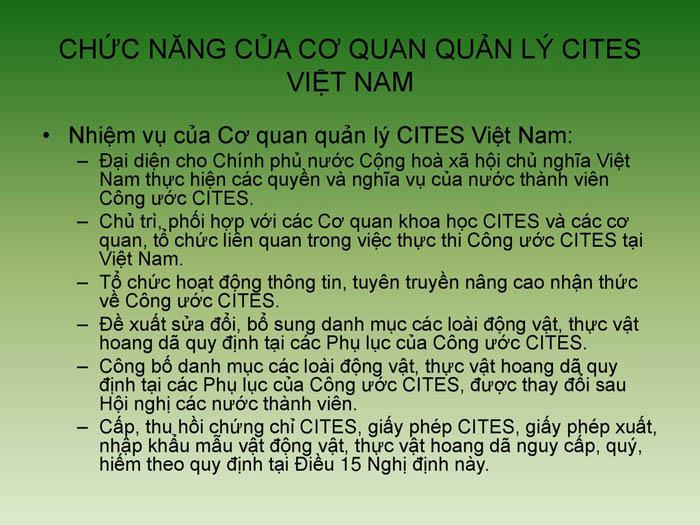 Chức năng quản lý Cites tại Việt Nam