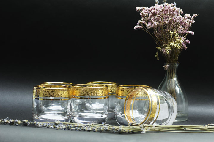 Bộ ly rượu hoặc trà pha lê dát vàng