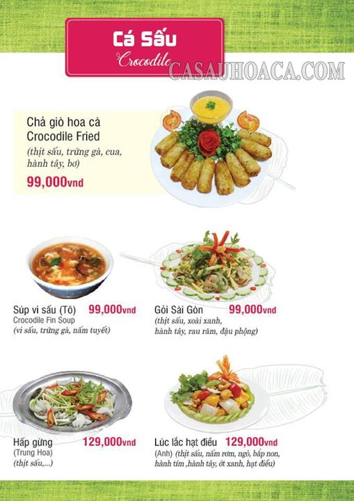 Thực đơn thịt cá sấu nhà hàng Hoa Cà