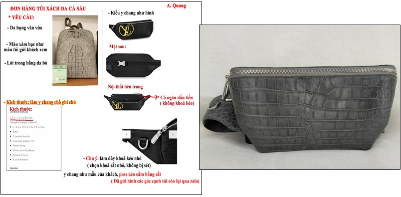 Túi đeo bụng cá sấu hoa cà 0212