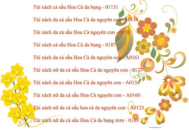 Bảng danh sách túi xách nữ da cá sấu Hoa Cà