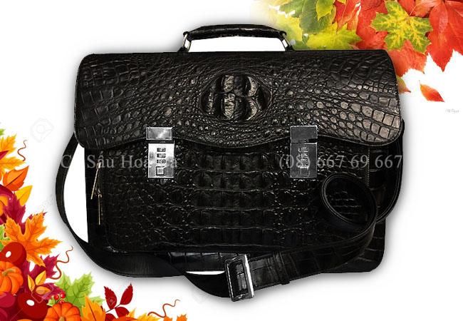 Cặp táp da cá sấu hoa cà da nguyên con - 0192