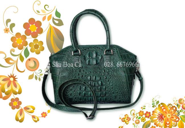 Túi xách da cá sấu Hoa Cà nguyên con - A0161