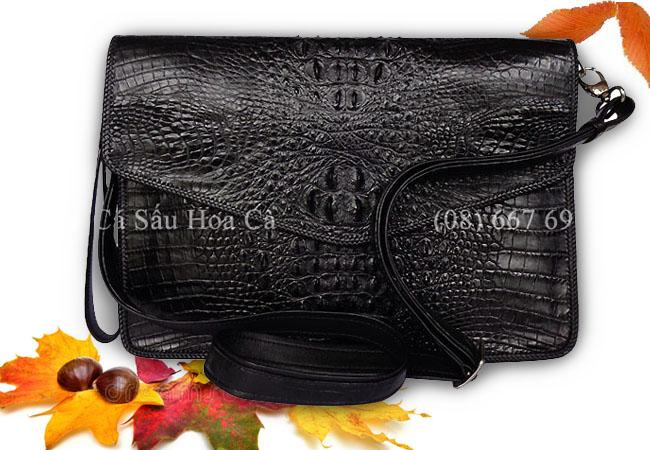 Túi xách nam cá sấu Hoa Cà nguyên con - D0168