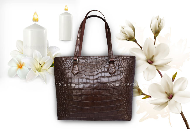 Túi xách cá sấu Hoa Cà da bụng - 0187