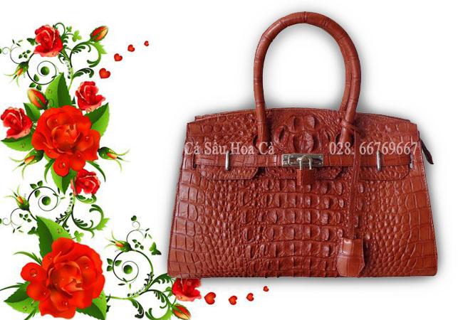 Túi xách da cá sấu Hoa Cà nguyên con - 0158