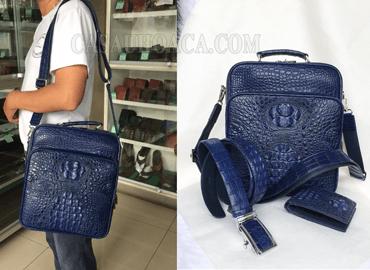 Đặt hàng theo yêu cầu, bộ sản phẩm thời trang da cá sấu dành cho nam