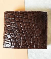 Bóp nam da cá sấu hoa cà 6 ngăn thẻ - 1066