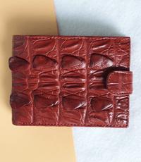 Bóp da cá sấu hoa cà nút bấm - 1182