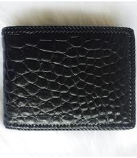 Bóp da cá sấu nam 2 mặt da đan viền hàng đặt theo yêu cầu, màu đen - D1169