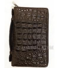 Hàng đặt ví da cầm tay da cá sấu màu nâu 2 khoá kéo - 1210
