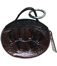 Móc khoá da cá sấu da bông cổ tròn màu nâu - 2225