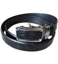 Thắt lưng da đà điểu da bụng, màu đen 3.5F - 9602