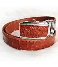 Dây nịt da cá sấu da bụng đan viền da bò màu đỏ cam 4F  - D3173