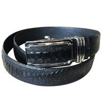Thắt lưng da đà điểu vảy da chân, màu đen 3.5F - 9602