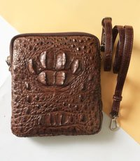 Túi đeo chéo da cá sấu mini da bông cổ - 0208
