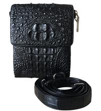Túi đeo chéo da cá sấu da nguyên con màu đen - 0212