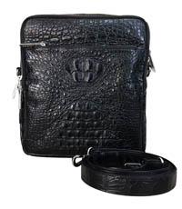Túi đeo chéo nam da cá sấu nguyên con màu đen A0166