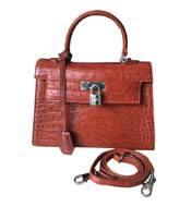 Túi đeo chéo da cá sấu nữ da bụng hàng cao cấp màu nâu đỏ - 0194