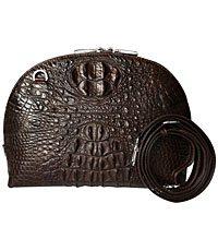 Túi xách da cá sấu nữ khóa rộng chính hãng hoa cà - 0210