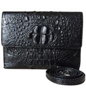 Túi xách da cá sấu nữ màu đen - 0221