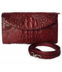 Túi da cá sấu nữ màu đỏ đô - 0178