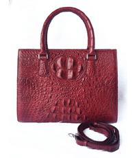 Túi xách nữ da cá sấu Hoa Cà da nguyên con có bông cổ - A7134