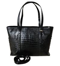 Túi xách da cá sấu nữ da bụng màu đen - 0206