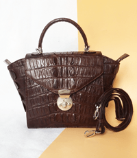 Túi xách nữ da cá sấu hoa cà - 0211