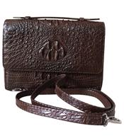 Túi xách da cá sấu nữ 2 khoá kéo màu nâu - 0220