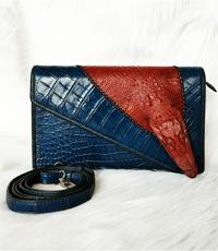 Bóp đầm da cá sấu có đầu xanh navy - 01901
