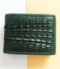 Bóp da cá sấu hoa cà da cá con đan viền - D1141